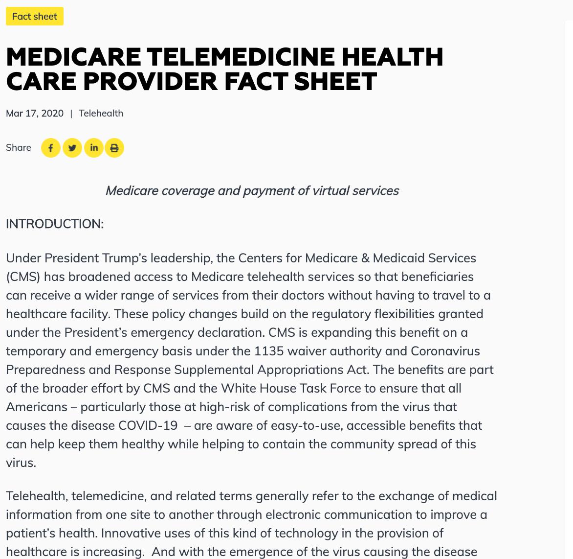 Telemedicine Fact Sheet